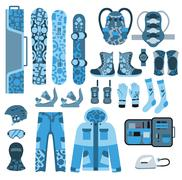 Snowboard sport clothes and tools elements Piirros