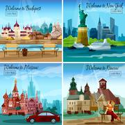 Famous Cities Set - stock illustration
