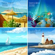 Seascape Illustrations Set Stock Illustration