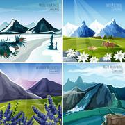 Mountain Landscapes Set - stock illustration