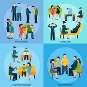 Counseling Support 4 Flat Icons Square Stock Illustration
