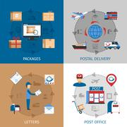 Mail Concept Icons Set Stock Illustration