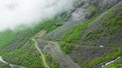 Trollstigen, The Troll's Path, Norway, Aerial View On The Troll's Path Tilt Down Stock Footage