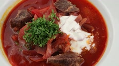 Beetroot soup with meat, Borscht Stock Footage