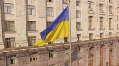 City Council Building on the main street of Ukraine's capital Stock Footage