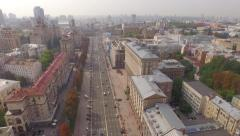 Khreshchatyk–main street of Ukraine's capital and City Council Building Stock Footage