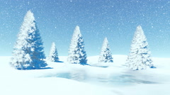 Simple winter landscape with firs at snowfall - stock footage