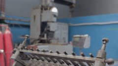 Old factory machine with tools 1 Stock Footage