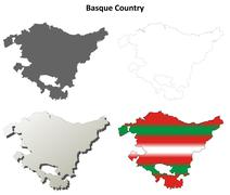 Stock Illustration of Basque Country blank outline map set - Basque version