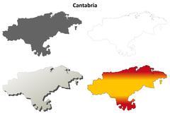Stock Illustration of Cantabria blank detailed outline map set