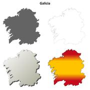 Galicia blank detailed outline map set - stock illustration