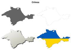 Stock Illustration of Crimea outline map set - Ukrainian version