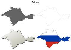 Stock Illustration of Crimea outline map set - Russian version