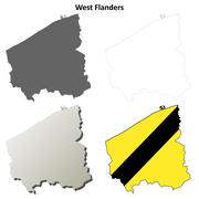West Flanders outline map set - Flemish version - stock illustration