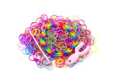 Rainbow loom Colored rubber bands for weaving accessories - stock photo