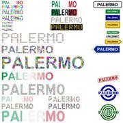 Palermo text design set Stock Illustration