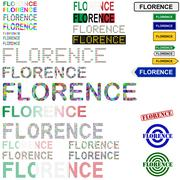 Florence text design set Stock Illustration