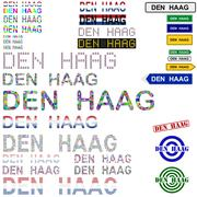 Den Haag text design set Stock Illustration