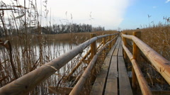 Float wooden path. Stock Footage