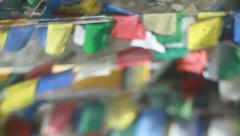 Tibetan Color Flags on the Road (Buddhism in Himalayas) Stock Footage