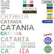 Catania text design set Stock Illustration