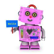 Toy robot girl holding hello sign Stock Illustration