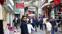 Grand Bazaar streets with shops and people in Istanbul. Istanbul. Turkey Stock Footage