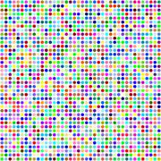 Multicolor circle pixel mosaic background - stock illustration