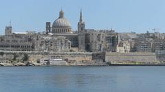 The view on Valletta, Sliema, Malta Stock Footage