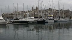 The view on Birgu and  yacht marina, Birgu, Malta Stock Footage