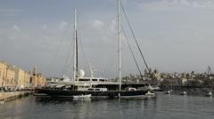 The view on Birgu and  yacht marina, Birgu, Malta - stock footage