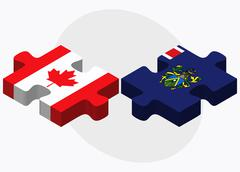 Canada and Pitcairn Islands Flags Stock Illustration