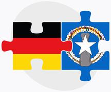 Germany and Northern Mariana Islands Flags Stock Illustration