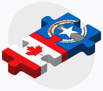 Canada and Northern Mariana Islands Flags - stock illustration
