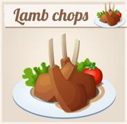 Lamb chops. Detailed Vector Icon - stock illustration