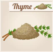 Dried thyme. Detailed Vector Icon - stock illustration