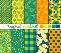 Set of 10 simple seamless patterns. Tropical Cocktail color palette - stock illustration