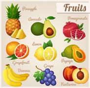 Stock Illustration of Set of food icons. Fruits