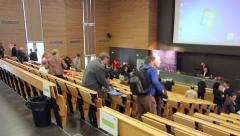 End of conference, lecture in big classroom - Students leaving - Timelapse - stock footage