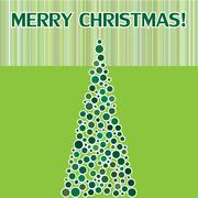 Merry Christmas postcard with fir. - stock illustration