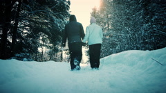 Motion-Photo (Cinemagraph) of Young Adult Couple Walking on a Snowy Day Stock Footage