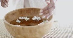 Female Hands With Bowl Of Aroma Water Stock Footage