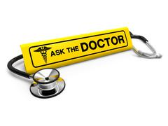 Ask the doctor sign and stethoscope, medical - stock illustration