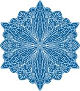 Abstract vector round lace design - mandala, decorative element in blue color - stock illustration