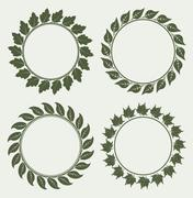 Set of 4 decorative round floral frames with leaves Stock Illustration
