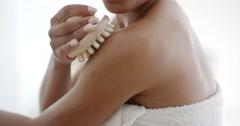 Woman Massaging Her Shoulder Stock Footage