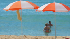 Couple on the Karon beach Stock Footage