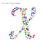 Stock Illustration of Vector Letter X from Bright Color Ink Blots with Splashes