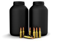 Bullets with gun powder, ammo, ammunition - stock illustration