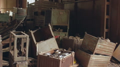 Pan of the old metal warehouse 1 Stock Footage